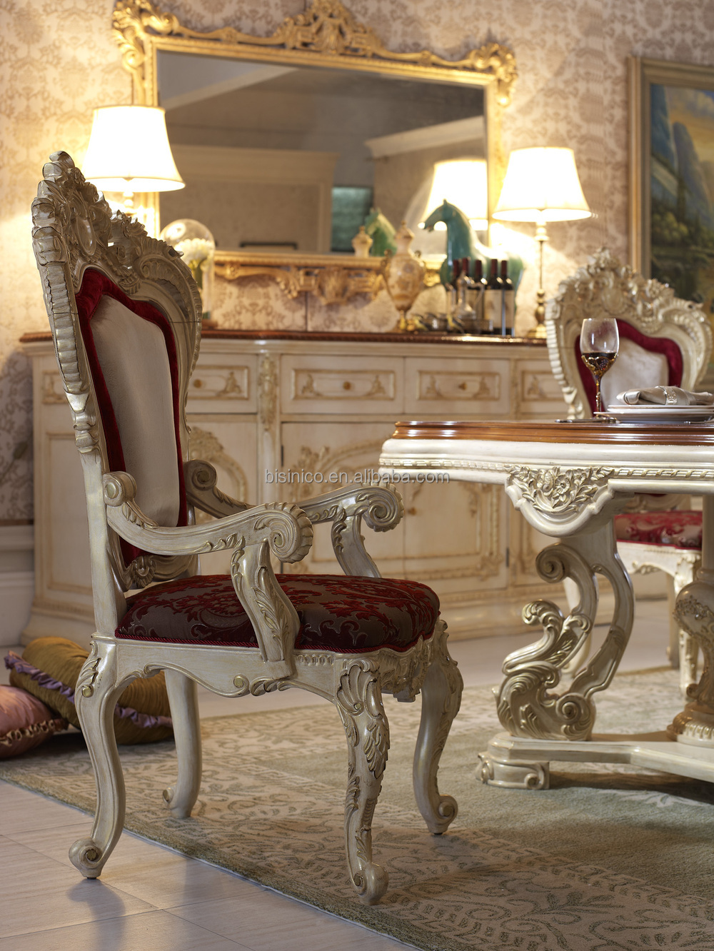 Bisini Luxury Italian Style Dining Table French Royal