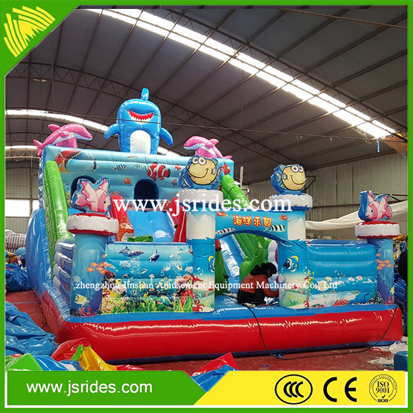Low price inflatable bouncy castle with water slide for sale