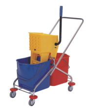 60L Supermarket/hotel/squeeze Recycled Plastic mop Double Bucket with Wringer