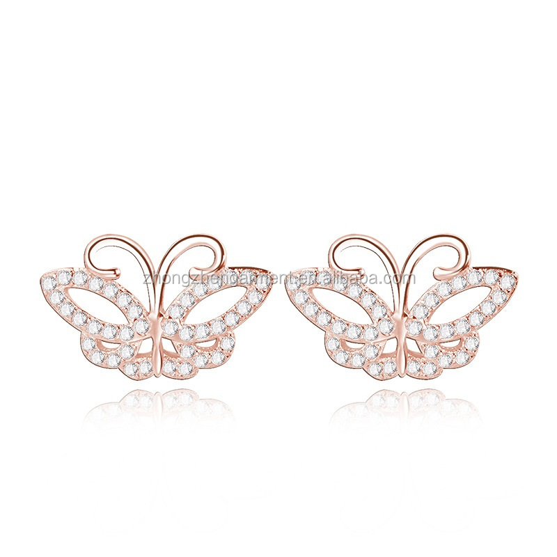 Girls Childrens Jewelry CZ Zircon 925 Silver Rose golden plated Butterfly Stud Earrings