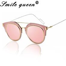 2016 New Classical COMPOSIT Sunglasses Women Flat Mirror Ladies Cat Eye Sunglasses UV400 Male Female Sunglasses Oculos De Sol