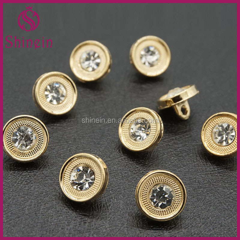 10MM round shape fancy kurta button with crystal for women's shirts
