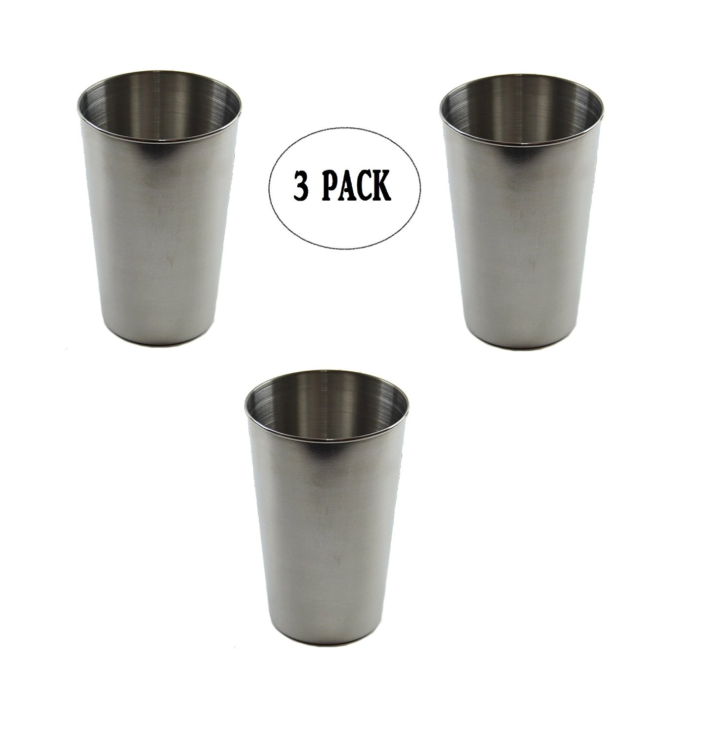 Wealers 16oz Stainless Steel Pint Cups, DURABLE - REUSABLE - STACKABLE, Great for Beer Pints, Iced Tea Tumblers, Wine & Water Mugs, Camping Cup - Bar Set.