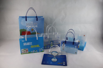 Whole Cartoon Handle Pp Plastic Ping Bag With Gift