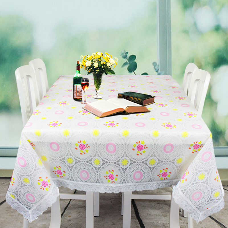 company promotional white PEVA table cloth with lace