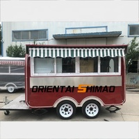 Mobile ice cream bar hot dog waffle coffee retail food vending push carts fiberglass food truck with umbrella for sale