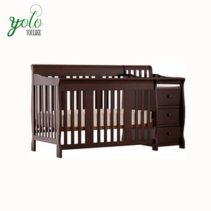 Wooden Bamboo Baby Bed With Fixed Side Convertible Crib