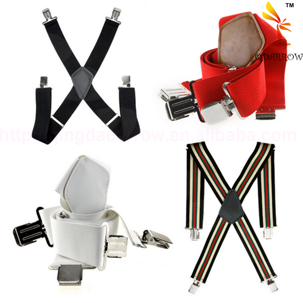 New Coming Mens Womens Durable CliP-On Adjustable Braces X-Shape Elastic Fabric Suspenders Yiwu