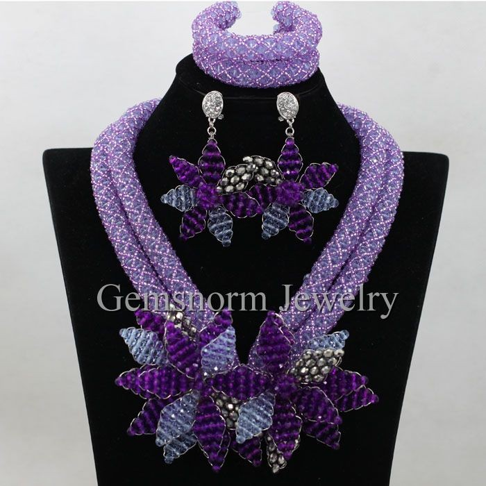 best selling products white african crystal beads jewelry set choker necklace for bridal GWH0064