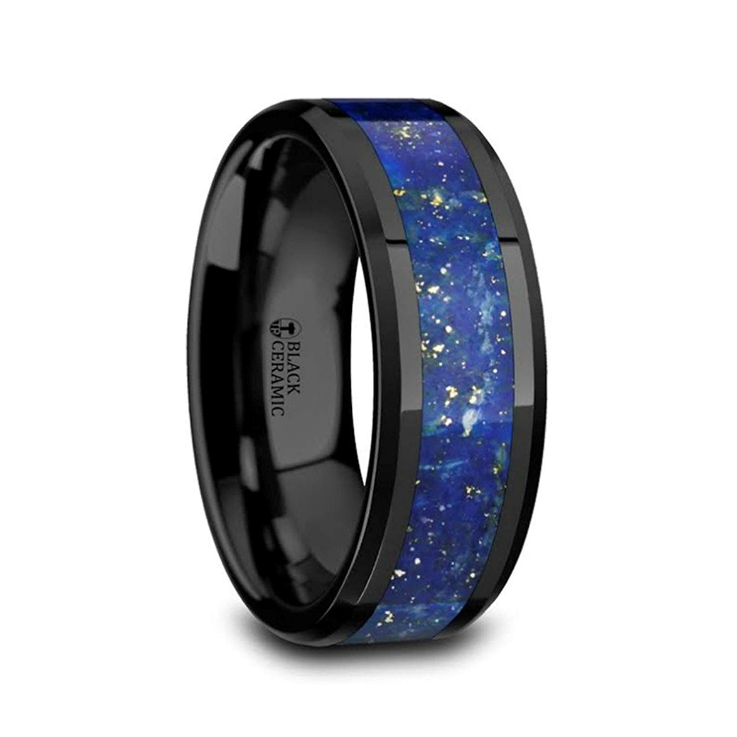 Thorsten Black Panther Custom Design Flat Black Tungsten Ring 12mm Wide Wedding Band from Roy Rose Jewelry