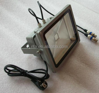 60W RGB DMX flood light,AC85-265V input;can be controlled by dmx controller directly;size:L300XW230XH150