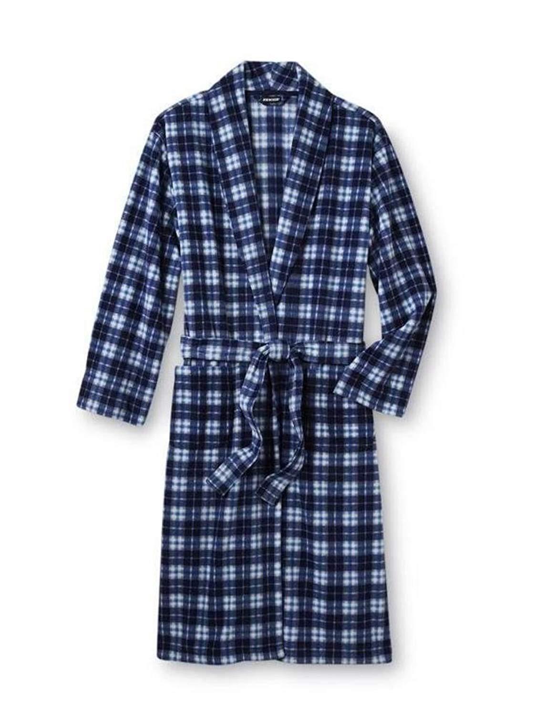 48aae45186 Get Quotations · Joe Boxer Mens Plush Navy Blue Plaid Robe Housecoat Bath  Robe