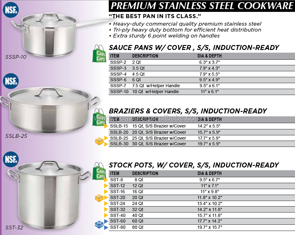 NSF/LFGB Commercial Cookware Stainless steel Stockpot Sets for restaurant kitchen