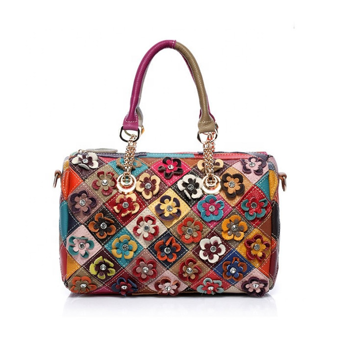 New Real 100% <strong>Genuine</strong> <strong>Leather</strong> <strong>Bags</strong> Women <strong>Hobo</strong> Patchwork Flower Handbags Ladies Tote <strong>Bag</strong> Colorful Big Women <strong>Bag</strong>