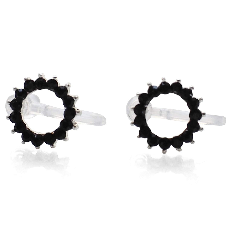 Miyabi Grace Women's Comfortable Modern Minimalist Hoop Simple Rhinestone Crystal Invisible Clip On Stud Earrings Black tone