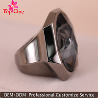 Best selling products hexagon fashionable jewelry black diamond ring / wholesale ring engagement wedding ring with black stone