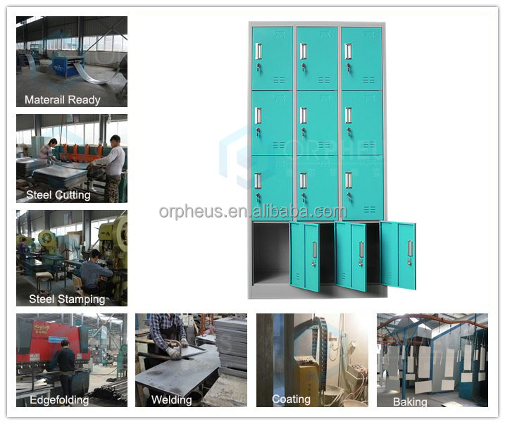 Wholesale 4 Layer Sky Blue Color Golf Storage Lockers/12 Door Bag Locker/