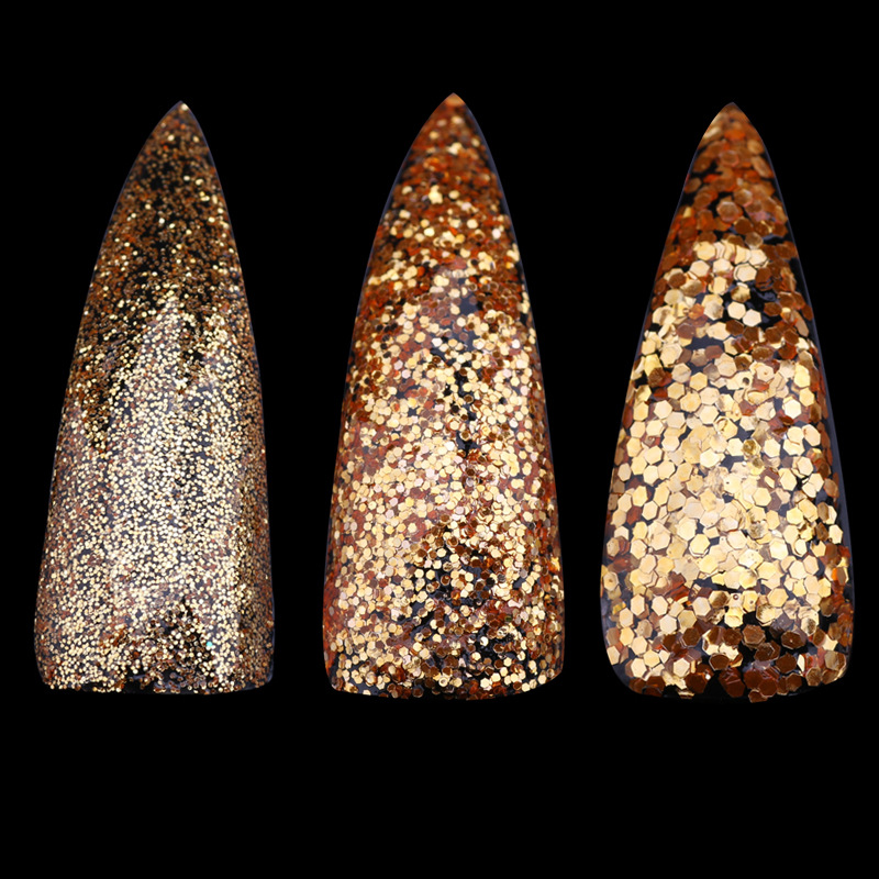 Blingbilng!1 Bottle Shining Gold Nail Glitter Powder Dust 3 sizes 3D Sequins For DIY Nail Art Dust Flakes Decorations