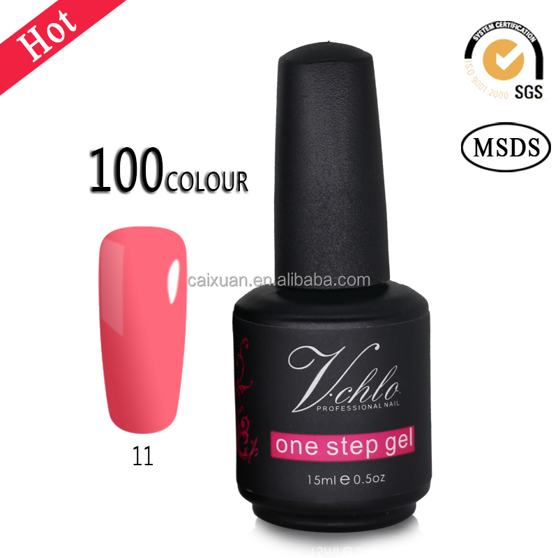 CAIXUAN factory wholesale high quality UV/LED V.chlo one step gel polish 100 colors, one phase uv nail polish gel