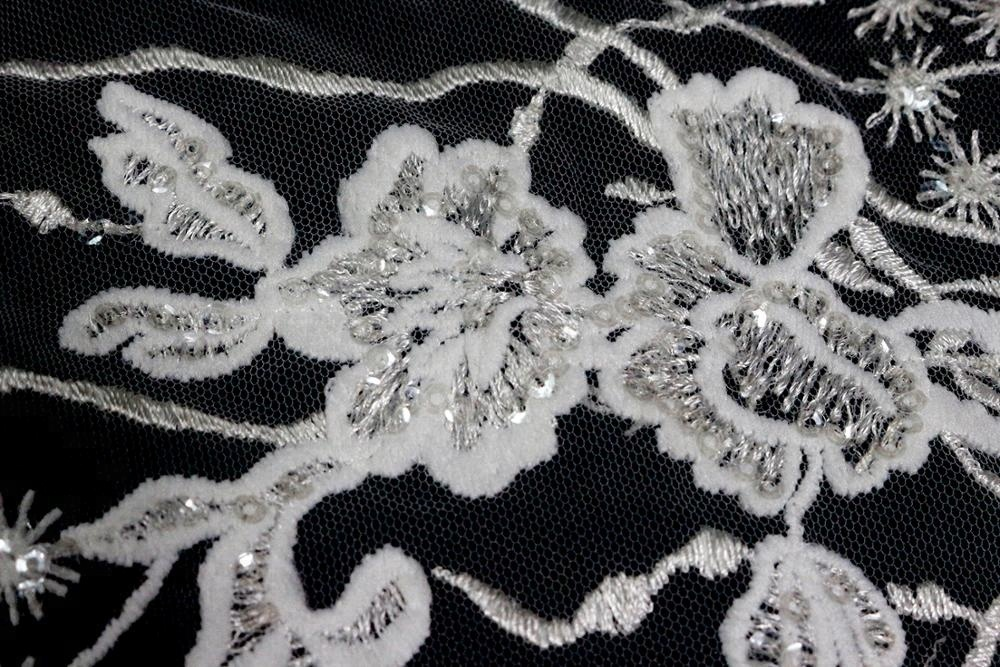Pengantin Mewah Tulle Bersulam Silver Payet Lace Fabric untuk Wedding Dress