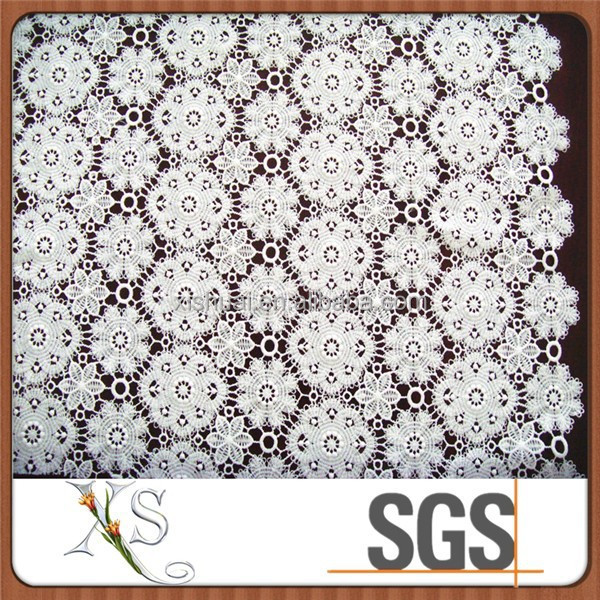 Lace Fabric Chemical Lace Sequin Table Cloth Silver Overlay