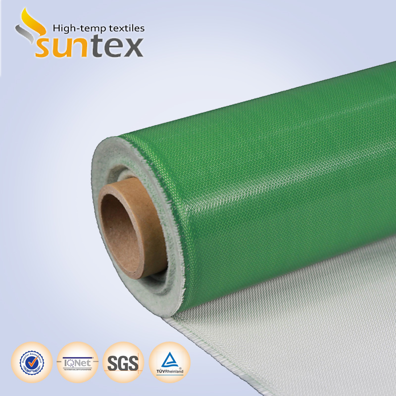 15oz 0.4mm one side green silicon coated fiberglass 550C welding protection high quality clothing manufacturers of suntex