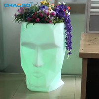 16 colors changing holiday decorative illuminated led head flower pots garden patio light up head planters pots
