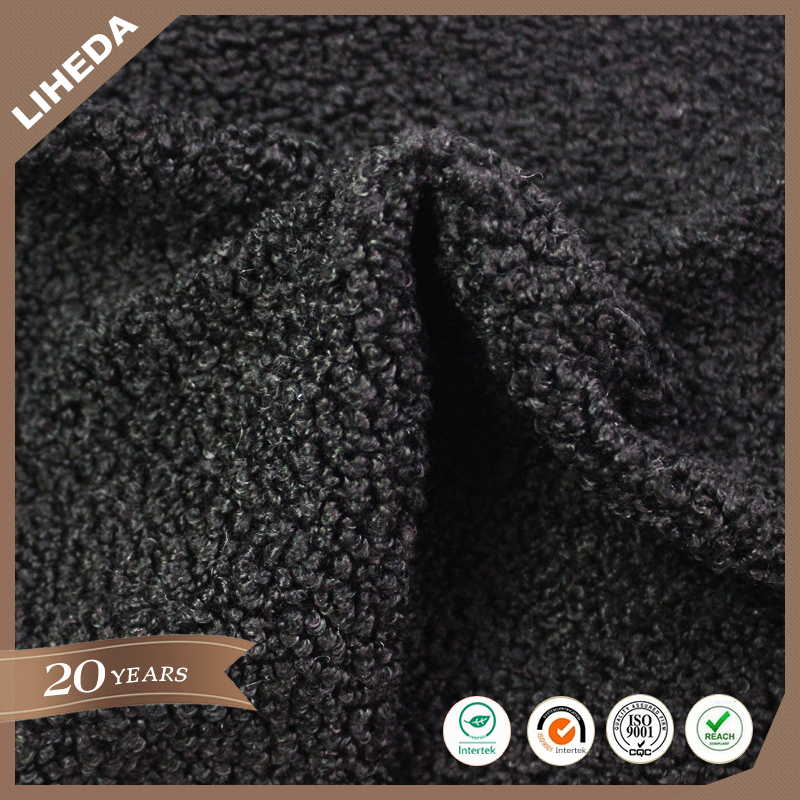 Black color super soft curly artificial wool fur fabric