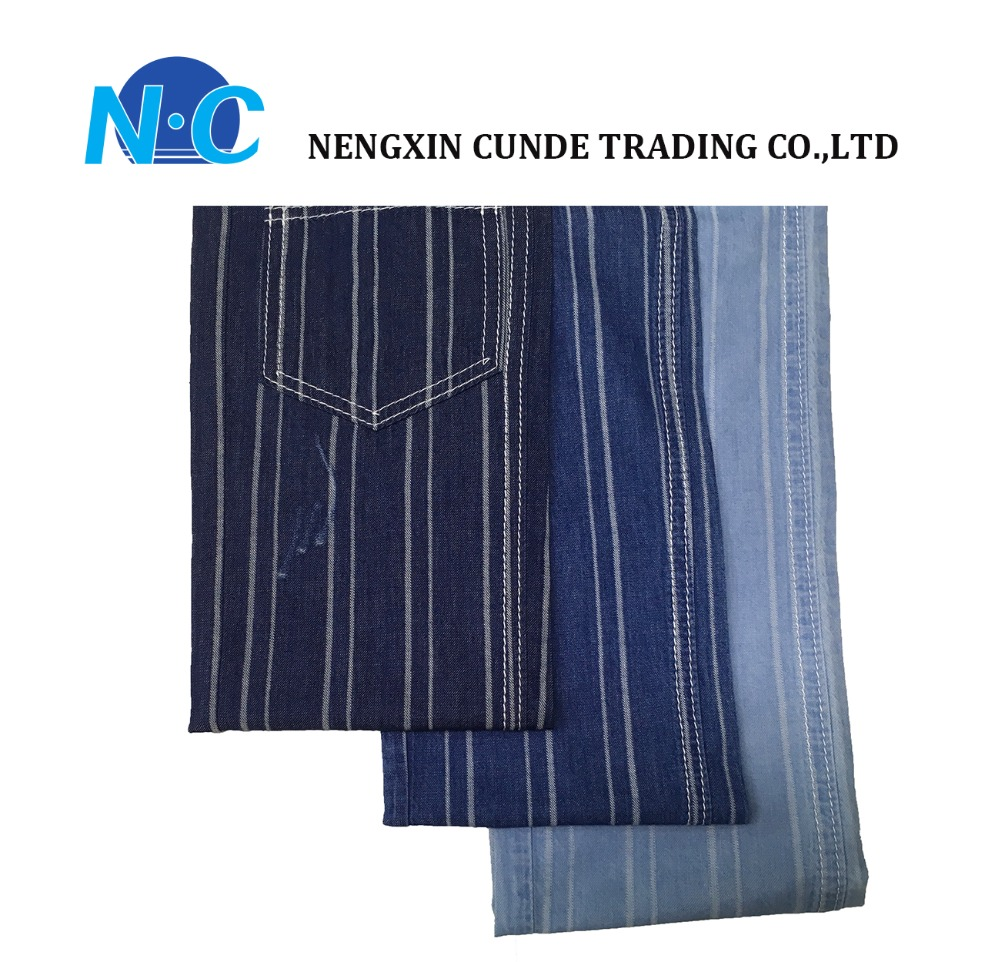 Wholesale cotton denim in jacquard fabric for shirt stripe denim fabric