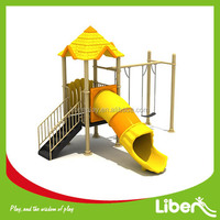 factory price mini plastic slide funny park swing set outdoor padded playground with CE