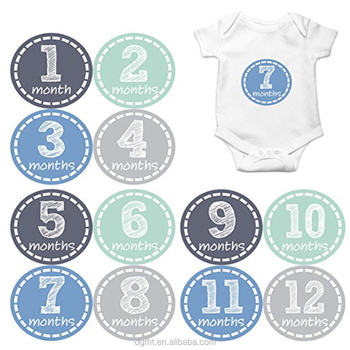 Amazon Hot Sale Monthly Baby Stickers Baby Boy Month 1-12 Milestone Sticker