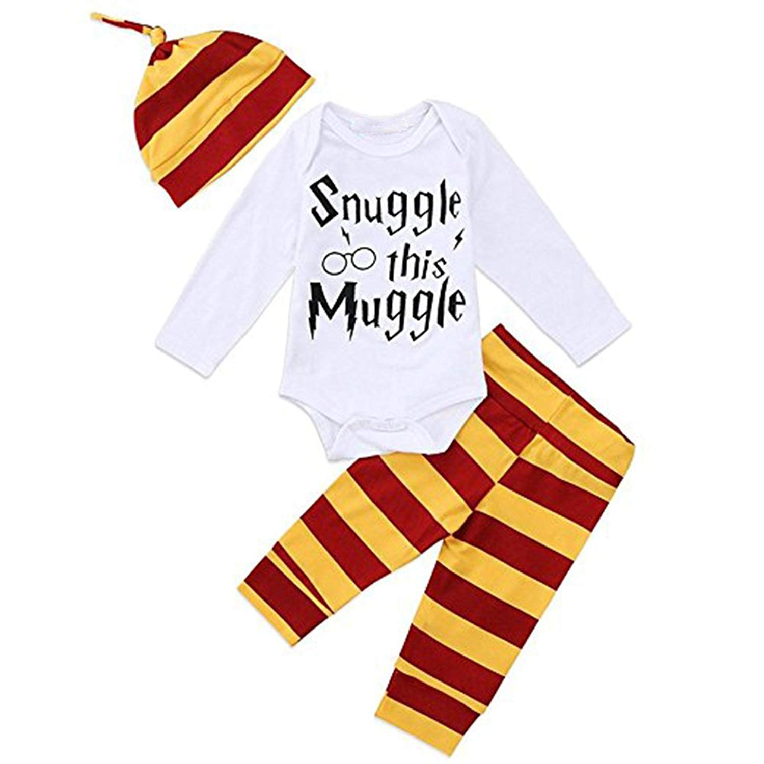3caf0b1ca03 Get Quotations · Sibylla Baby Snuggle This Muggle Short Boys Girls Sleeve  Bodysuit and Striped Pants Outfit With Hat