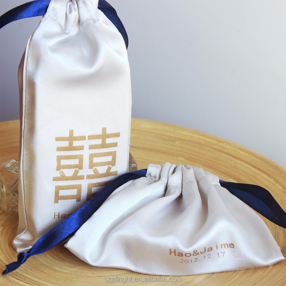 Wholesale Promotional satin drawstring bag packaging jewelry pouch
