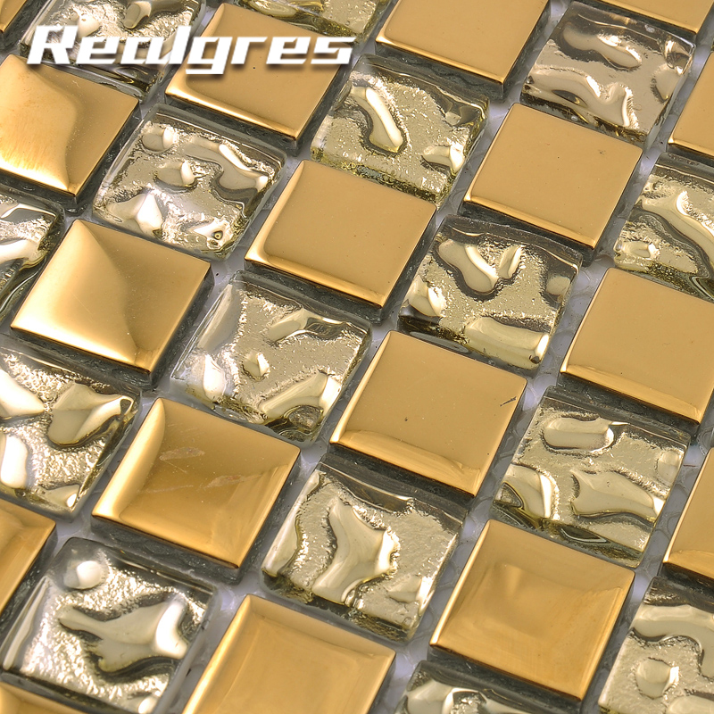 RSM4 Foil Golden Select Gold Color Crystal Glass Mosaic Wall Tile