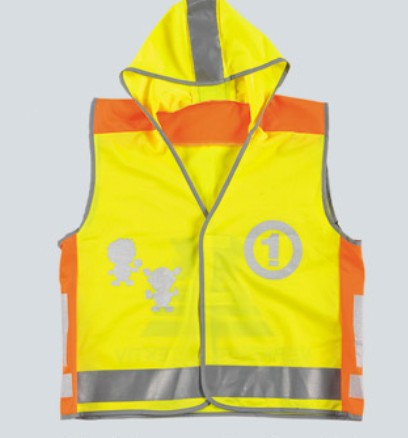 Yellow Children Safety Vest with Heating Transfer Printing