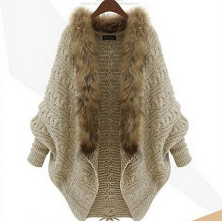 New 2015 Winter Women Fur Collar Sweater V-Neck Thicken Warm Casual Knit  Cheap Wool Sweaters Female Oversized Cardigan Feminino 08bfe89e0