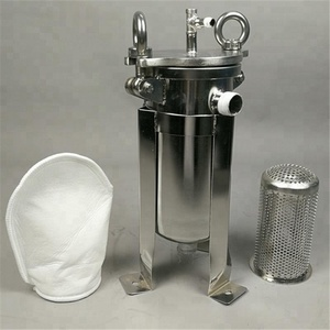 "Mini Stainless Steel 5"" bag filter housing with pneumatic wall mounted or trolley"