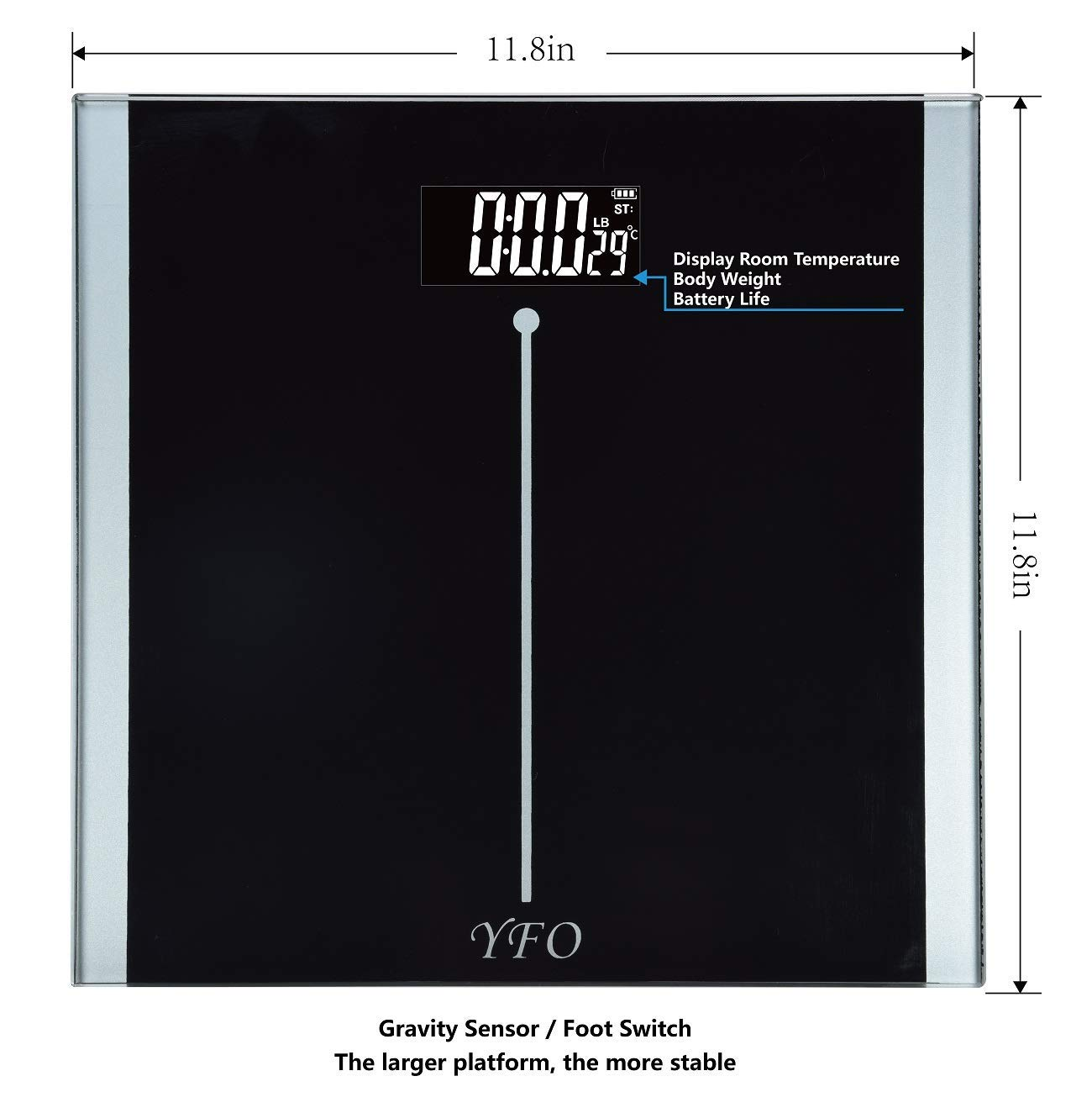 Digital Body Weight Bathroom Scale with Step-On Technology 11.8″*11.8″ Large Platform Plus 0.32in Tempered Safety Glass,Two Unit KG and LB Display, Room Tempreture, Elegant Silvery Black