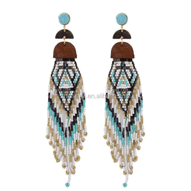 Long earrings  pendants  harpoon  glass beads  handmade  unique  bohemian  ethnic