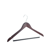 Newworld Factory Directory Sell Red Brown Wooden Coat Suit Clothes Hanger With Locking Bar