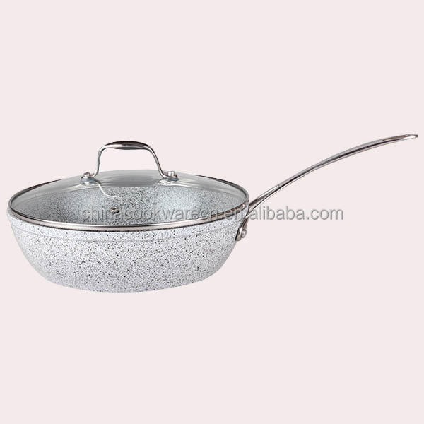 aluminum ceramic marble coating forged deep fry pan with glass lid
