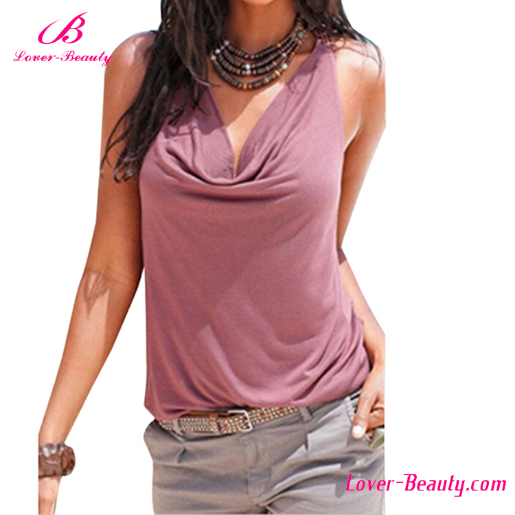 Wholesale Pink Strap Eyelet Loose Ladies Cotton Tops Designs