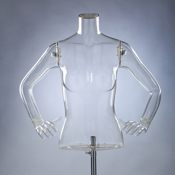 plastic mannequin transparent mannequin upper body model female torso for sale