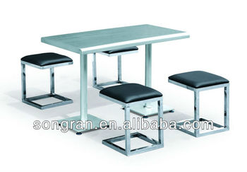 New Design Stainless Steel Dining Table And Leather Chair Buffet Table Set