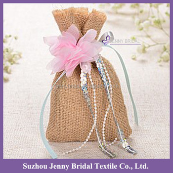 Bag027 Burlap Fabric Flower Decoration Indian Wedding Gift Favor Bags