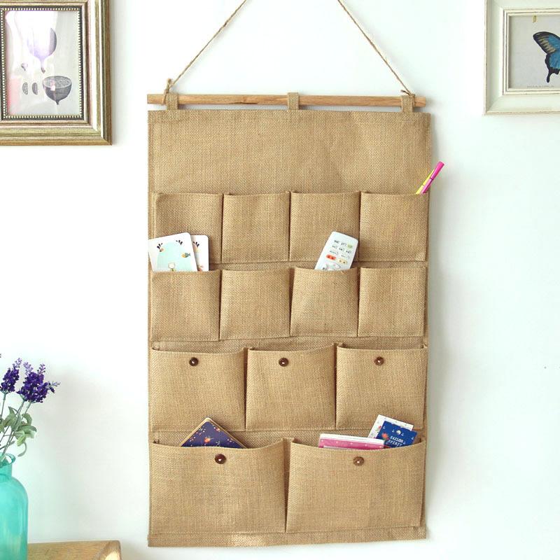 Get Quotations · Organizadores 2015 New Folding Hot Sale Retro Zakka Home  Decorative 13 Pocket Linen Hanging Storage Bag