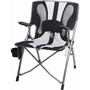 Ozark Trail Durable Steel Frame with Fabric Armrest, Adjustable Lumbar Mesh Outdoor, Camping Chair- Adjustable Lumbar Support