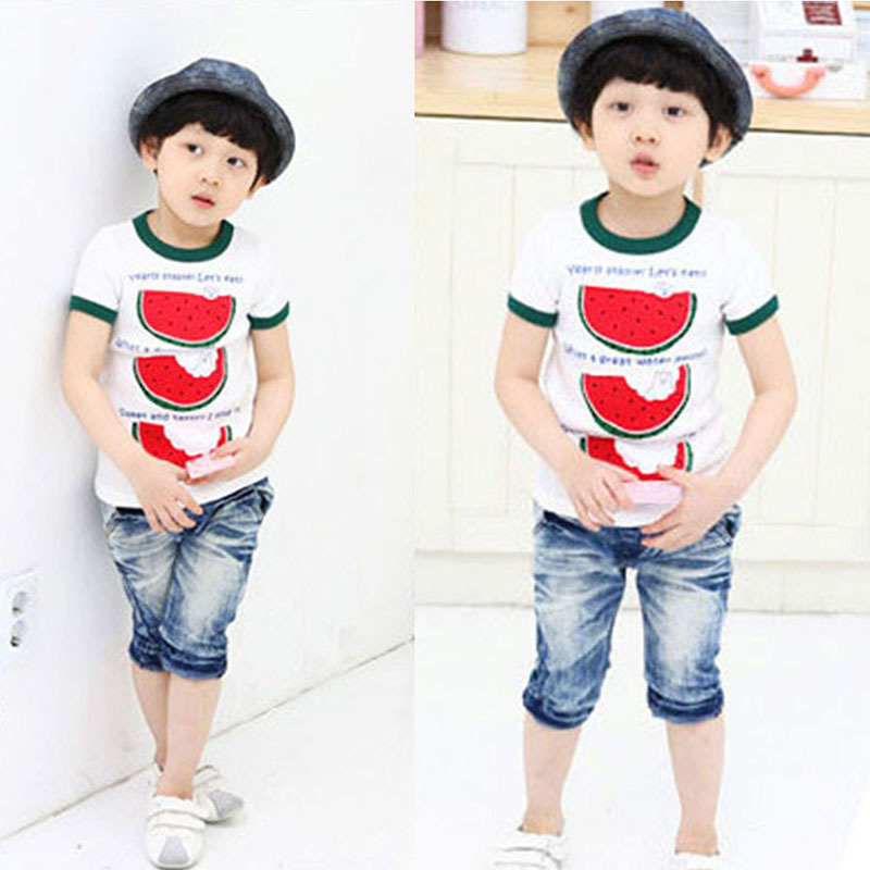 Super Cute Summer Kid Toddler Watermelon Tops Cozy T Shirt Child Boys Short Sleeve Tee Shirt