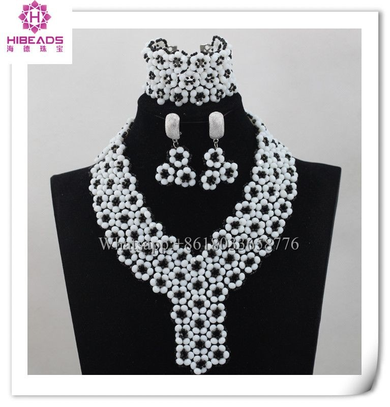2016 Fashion Exquisite Design White Crystal Beads And Black Beads ...
