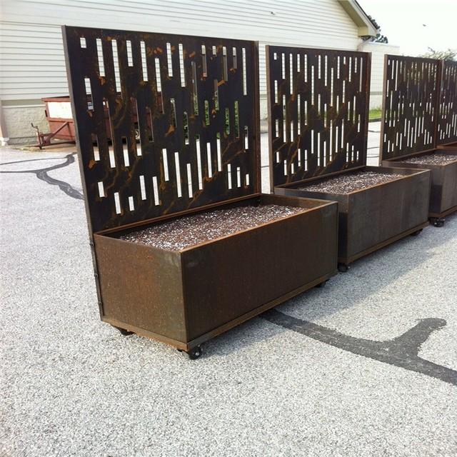 Custom Corten Steel Planter Box With Trellis Screen Flower Pots